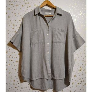 Madewell Gray Oversized Button Down Top Small